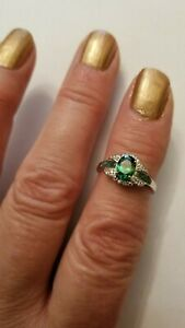 1.38 CT EMERALD & DIAMOND 10KT SOLID WHITE GOLD RING SIZE 7