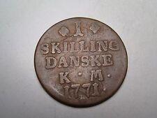1771 Denmark 1 Skilling Danske K M Coin.
