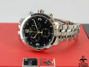 Tissot 1853 PRC 200 Quartz Chrono Black Dial St. Steel Band Watch w/Box T055417A