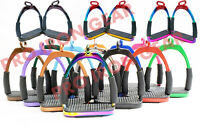 15 COLOR OFFSET HORSE FLEXIBLE SAFETY STIRRUPS (4.75'')  RIDING BENDY IRON STEEL