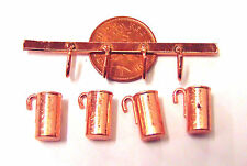 1:12 Scale 4 Metal Measuring Jugs & Hanger Tumdee Dolls House Kitchen Accessory