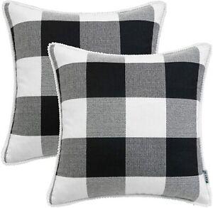 HWY 50 Set of 2 Black White Buffalo Plaid Farmhouse Throw Pillow Covers  20 x 20
