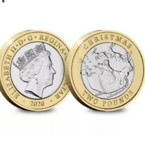 2020 Gibraltar £2 coin Father Christmas Santa in Sleigh Blue Card Unc