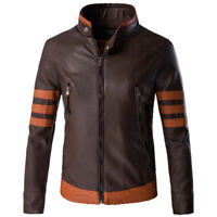 Mens' X-Men Wolverine Origins Bomber Style Brown Real Leather Jacket Size M-5XL