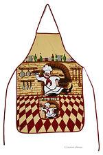 Cotton Kitchen Apron Pizzeria Fat French Chef Checkered Bistro Decor w Pocket