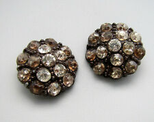LARGE Set of 2 Vintage Antique 1920's 1930's HEAVY Clear Smoke Rhinestone Button