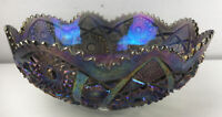 """Imperial Glass Diamond Lace 9.5"""". Purple Opalescent Carnival Glass Serving Bowl"""