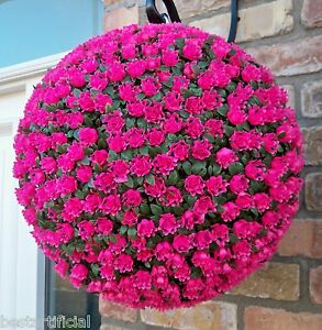 Best Artificial Pink Rose Topiary Hanging Flower Balls Basket UV Fade Protected