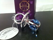 Silver plated dummy with blue Swarovski crystals - Baby Boys christening gift