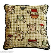 Rustic Cafe Coffee Break Cup Accent Tapestry Throw Pillow Kitchen Dinning Decor