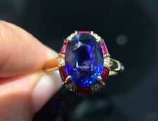 3Ct Oval Ruby Blue Sapphire Halo Diamond Engagement Ring 14K Yellow Gold Vermeil