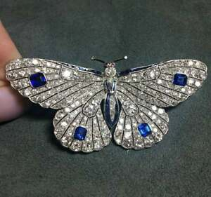 10K White Gold Over Blue Sapphire ,Ruby & Diamond 4.25 Ct Butterfly Brooch Pin