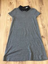Loft Anne Taylor A Line Grey Stretch Dress Pete Pan Beaded Vintage Collar Size M