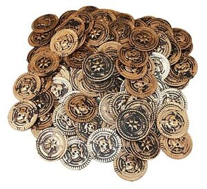 144 PLASTIC RUSTIC VINTAGE BRASS GOLD COINS PIRATE TREASURE CHEST MONEY FAVORS