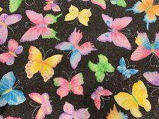 1/2 yard Butterflies Silver Black Glitter Cotton Woven Fabric Pink blue yellow