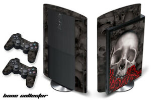 Skin Decal Wrap For PS3 Super Slim PlayStation 3  Console + Controller Bones-BK