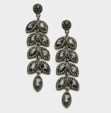 "2.8"" Long Gray Grey Dangle Glass Crystal Pageant Rhinestone Earrings Formal"