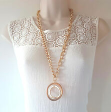 "Gorgeous 28"" long MATT gold tone chunky chain & pendant necklace"