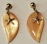 "1"" -Vintage YELLOW MOP SHELL DANGLE STARFISH Pierced Earrings"