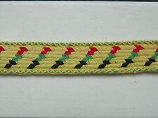 Galon vintage années 60 - Coton jaune, rouge, vert, noir - 17 mm x 5 mètres