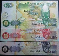Zambia 20 - 100 Kwacha Set 3pcs BrandNew Banknotes