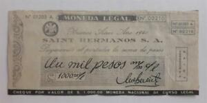 ARGENTINA script Saint Hermanos token 1000 ps check WWII 1940 chocolate c° ficha
