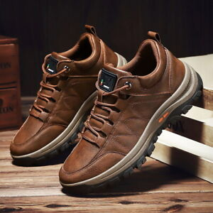 NEW MENS HIKING OUTDOOR WALKING TREKKING LEATHER TRAINERS SHOES UK SIZE 7 8 9