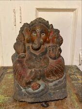 11th C Ancient Sandstone Hand Carved Paint Hindu God Ganesha Sculpture Figurine