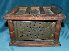 AWESOME ANTIQUE VINTAGE PRIMITIVE 19th CENTURY FOOT WARMER PUNCHED TIN! CARRIAGE