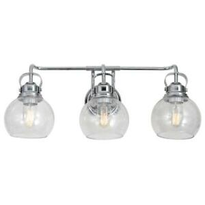 JONATHAN Y Shirley 24 in. 3-Light Metal/ Bubbled Glass Chrome Vanity Light