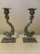 A Pair of Old Dolphins Silver Plate Candlesticks Holders