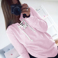 Womens Lace Up Sweatshirt Hoodie Long Sleeve Casual Top Shirt Pullover Blouse US