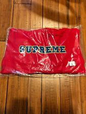 SUPREME SS18 CORD COLLEGIATE LOGO HOODED SWEATSHIRT RED LARGE L NEW IN HAND!
