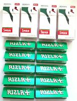4 x SWAN MENTHOL EXTRA FILTER SLIM Tips and 10 x RIZLA GREEN ROLLING CIG PAPERS
