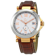 Guess GC-B1 White Dial Mens Leather Watch X61002G1