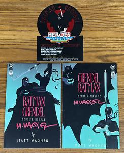 BATMAN GRENDEL #1 & 2 SIGNED SET 1993 1ST PRINT HEROES AREN'T COA NM MARK WAGNER