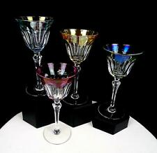 "BOHEMIAN CZECH CRYSTAL IRIDESCENT PANELED 4 PIECE 6 1/8"" WINE GLASSES 1920-1950"