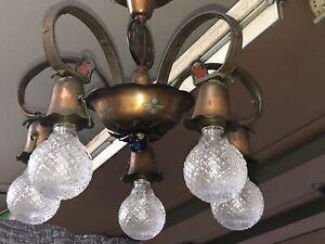 "Atq 5 Arm Copper 1920s Arts & Crafts Chandelier Ceiling Light Fixture 16""x14"""