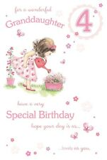 GRANDDAUGHTER 4th BIRTHDAY CARD AGE 4 QUALITY CARD WITH BEAUTIFUL VERSE