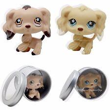 2pc #748 #575 Rare Littlest Pet Shop Brown Cocker Spaniel Dog Flower Eyes LPS
