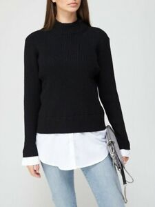 V By Very Roll Neck 2 In 1 Shirt Detail Knitted Jumper White Black Size 12 BNWT