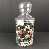 Vintage Button Jar Glass Apothecary Mixed Lot Buttons Sewing Craft