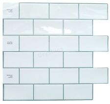 Crystiles Decorative Tiles Peel and Stick Self-Adhesive Vinyl Wall Tiles, Subway