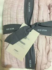 West Elm One (1) Quilted Euro Sham Belgian Flax Linen Linework NWT! Vintage Rose