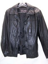 WILSON'S Womens Black Leather Jacket CHAIN Belted Jacket Coat Small BIKER SEXY