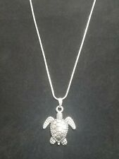 Sea Turtle Necklace Pendant Silver Tortoise Turtle on Sterling Silver Chain
