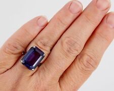 1940's Esemco 10k White Gold 14 Carat Emerald Cut Alexandrite Color Change Ring