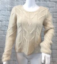 JOE'S JEANS Women's Beige Cable Knit MOHAIR Sweater Sz XS