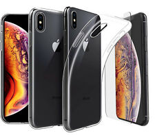 """For Apple iPhone XS Max (6.5"""") Case Clear Gel Cover And Glass Screen Protector"""
