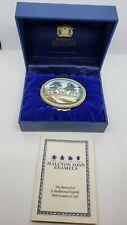 """Halcyon Days Enamel Box, """"Essex Fells Country Club 1896-1996"""", w/ Case"""